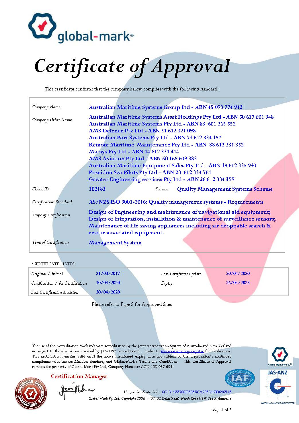 AS/NZS ISO 9001-2016: Quality management systems - Requirements